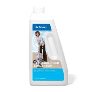 Abgebildet ist eine weisse Flasche des Dr. Schutz Teppichreiniger-Konzentrat 750ml.
