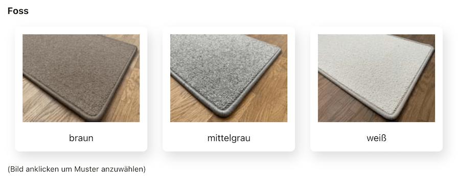 Drei Foss-Muster stehen beispielhaft zur Auswahl (nebst vielen anderen).