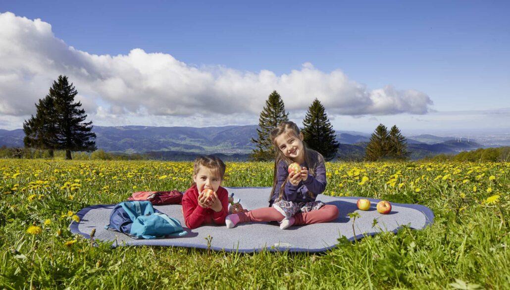 Kinder auf Teppich Apfel essend