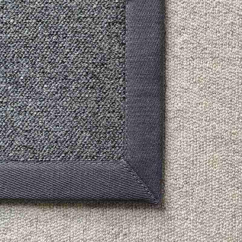 Antares Teppich Farbe dunkelgrau mit Leinenband dunkelgrau