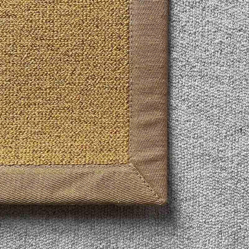 Antares Teppich Farbe gelb mit Leinenband ocker