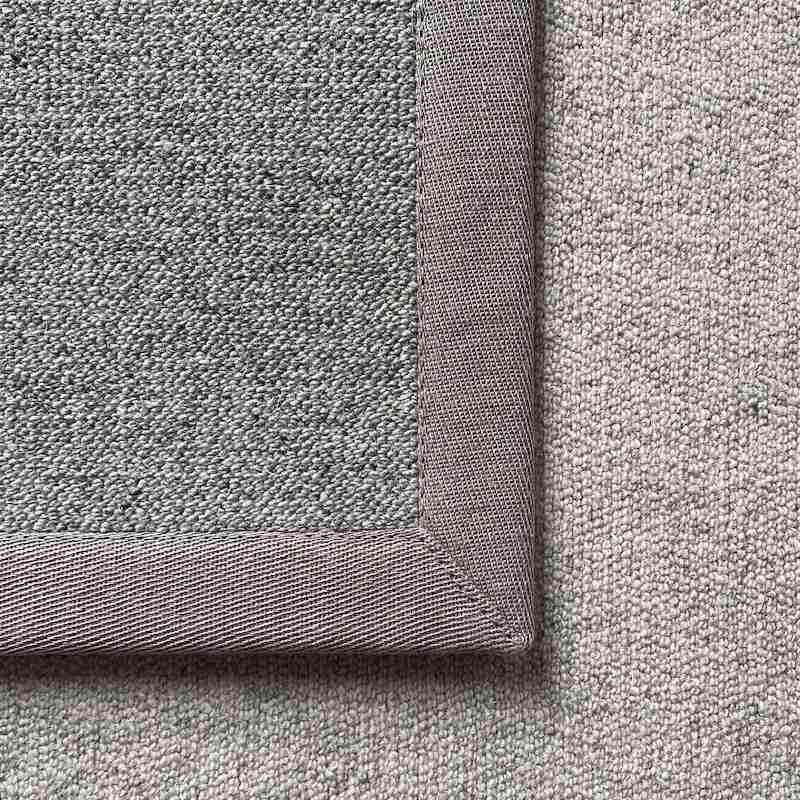 Antares Teppich Farbe hellgrau mit Leinenband hellgrau
